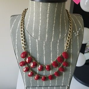 Jewelry - Red & Gold Statement Necklace